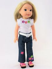 "Flower Pant Set Fits Wellie Wisher 14.5"" American Girl Clothes"