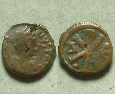 Rare Ancient Byzantine Pentanummium Coin Justin 518 Constantinople Chi-rho Cross