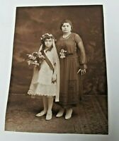 """1900's Photograph of Confirmation of Faith, Mother & Daughter #2 ~ 4""""x5 3/8"""""""
