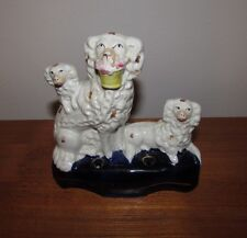 Antique Staffordshire dogs with basket quill holder 19th