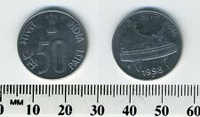 India 1998 (Dot) - 50 Paise Stainless Steel Coin - Parliament Building New Delhi
