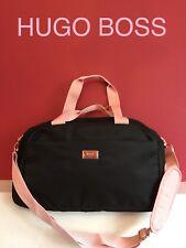HUGO BOSS Designer BLACK & PINK GYM BAG, CASUAL OVERNIGHT WEEKEND TRAVEL BAG New