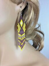 New Purple Yellow Beaded Native Style Handcrafted Fashion Hook Earrings E6/14
