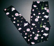 Black Pink Floral Print Leggings Leaves Flowers ONE SIZE