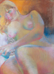 John Ivor Stewart PPPS (1936-2018) - Chalk Drawing, Expressive Reclining Nude