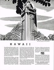 1934 BIG Vintage Hawaii Bureau Aloha Clock Tower Melbourne Bringle Art Print Ad