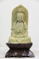 VINTAGE BIG CARVED SOAPSTONE LOTUS BUDDHA MID CENTURY GUANYIN Quan-Yin KUAN-YIN