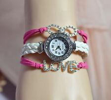 Crystal Diamante Love Watch Bracelet Birght Pink