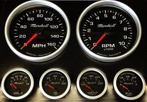 C2 Gauge Set, 5 inch Speedo/Tach, Black Dials, Silver Bezels, 73-10 Ohm Fuel Lvl