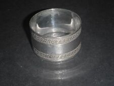 SILVER PLATED NAPKIN RING WITH GREEK KEY BORDERS & MONOGRAM TAJ? FAJ?