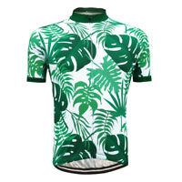 Road Cycling Jersey Mens Bike Shirt Clothing Biking Sports Palm Leaf Short Sleev