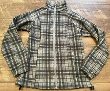 COLUMBIA SPORTSTWEAR Gray Plaid Lightweight Fleece Zip Down Jacket womens Small
