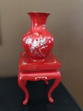 Red Cloisonne Vase on Pedestal (Vintage)