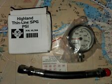 """Highland Mills 1.5"""" Thin Line Spg-Psi Gauge With A 6"""" Hose, Brand New, 5000 Psi"""