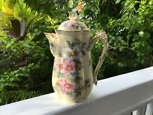 Antique Chocolate Limoges France Pot With The Floral Lid