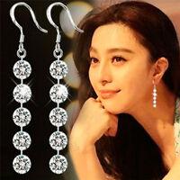 Women Delicate Round Zirconia Crystal Silver Dangle Hook Earrings Bridal Jewelry