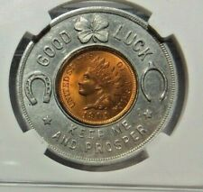 ENCASED UNC 1901 GOOD LUCK PENNY - NATIONAL LEAD CO. - NGC MS - 63 - NO RESERVE