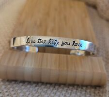 """""""live the life you love"""" 10.4 gr Far Fetched 925 Sterling Silver Cuff Bracelet"""