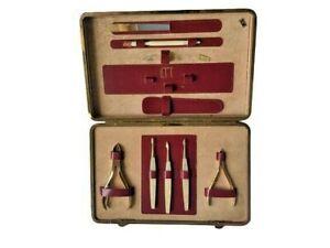 VTG Pfeilring Solingen Manicure Set Kit Zipper Case Mother of Pearl Gold Leather