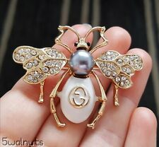 Art Deco Crystals White Honey Bee Brooch Vintage Style Insect Broach UK