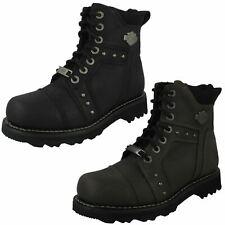 Ladies Harley Davidson Wide Fit Zip Leather Heeled Biker Boots Oakleigh