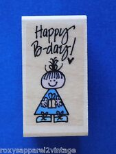 """Happy B-day! Wood Mounted Rubber Stamp Gently Used 2"""" x 1"""""""