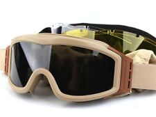 AIRSOFT PROFILE STYLE LARGE HIGH IMPACT GOGGLES TAN SAND DE + clear yellow
