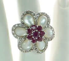 Sima K Solid 925 Sterling Silver Mother of Pearl and Ruby Flower Ring Sz-6 '