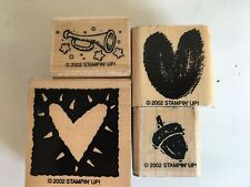 4 NEW 2002 Retired Stampin Up Borders Wood Rubber Mounted Stamp Hearts