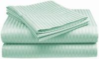 1000TC Egyptian Cotton ROUND BED SHEET SET Sateen Mint Green Stripe