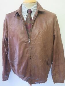 "POLO Ralph Lauren Zipped Leather Harrington Jacket M 38-40"" Euro 48-50 - Brown"