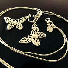 Necklace Chain Real 925 Sterling Silver S/F Ladies Butterfly Pendant Design