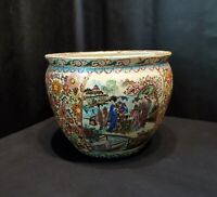 Antique Large Chinese Oriental Asian Pottery Porcelain Fish Bowl Planter