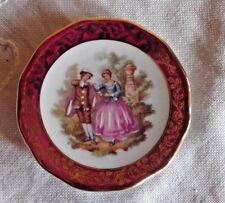 """Limoges France Miniature Plate """"Veritable Porcelaine D'Art OR"""" Rehausse Main 7cm"""