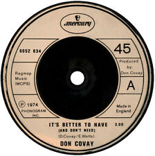 """Don Covay – It's Better To Have - Mercury – 6052 634 7"""" Vinyl 45RPM"""