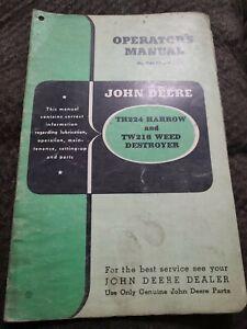 John Deere TH224 Harrow & TW216 Weed Destroyer Operators Parts Manual Original