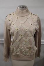 St.John Women's beige gold studs with suede straps sweater size M (ja200)