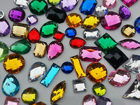 100 x Mixed Faceted Sew On Stitch on holed DIAMANTE Crystal Rhinestone GEM #24
