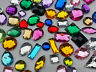 100 x Mixed Faceted Sew On Stitch on holed  DIAMANTE Crystal Rhinestone GEM #24