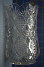 Vintage Flower Vase - Very Heavy Crystal - X's and Pebblestone Pattern