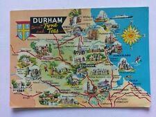 Durham Vintage colour Map Postcard c1970s