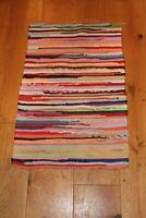 Vintage Scandinavian rag floor runner hand made woven wall hanging boho hippie