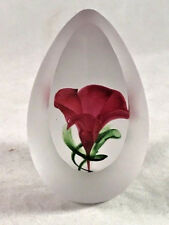 Paper Weight Egg Shaped Polished Panel Frosted Exterior Red Morning Glory