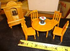 Dollhouse Miniature Blond Oak Dining Set, Round Table 4 Chairs & China Cabinet &