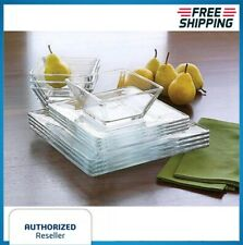Square Clear Dinnerware Set Dinner Kitchen Glass Bowls Dishes Plates Gift Sets