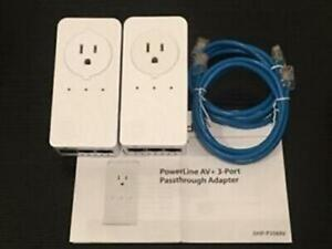 (LOT of 2) D-Link DHP-P338AV PowerLine AV 500 3-Port Pasthrough Adapter