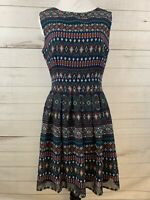 Altar'd State Women's Size Medium Dress Aztec Print Navy Blue Sleeveless