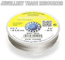 GREY SILK STRING THREAD 0.35mm FOR STRINGING PEARLS & BEADS GRIFFIN SIZE 6/F