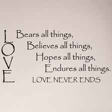 "48"" Love Bears Believes Hopes Endures All Things Love Never Ends Decal Sticker"