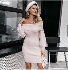 Off Shoulder Pink Dress Sweater Bell Sleeve Knitted Mini Dress Womens